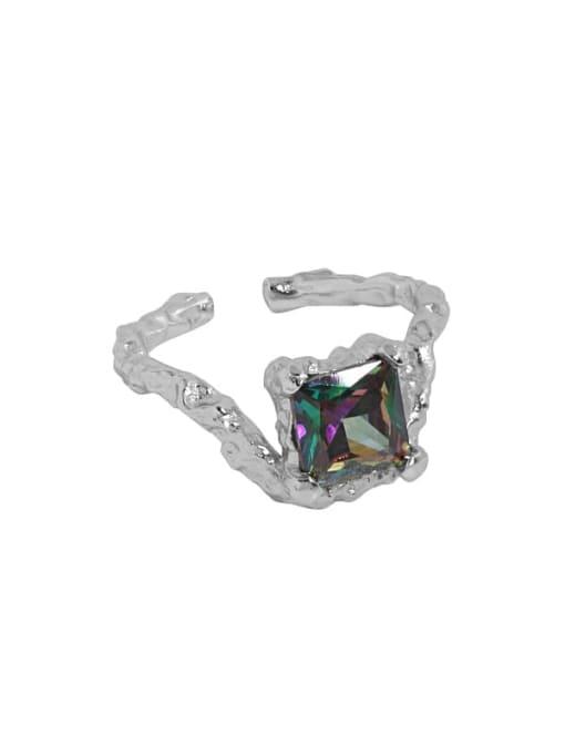 Platinum [14 adjustable] 925 Sterling Silver Glass Stone Geometric Vintage Band Ring